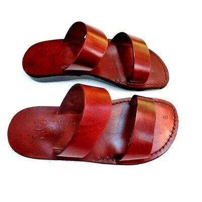 Brown Unisex Flip Flops - Jerusalem Biblical Sandals Brown Leather Unisex Strap Flip-Flops Handmade