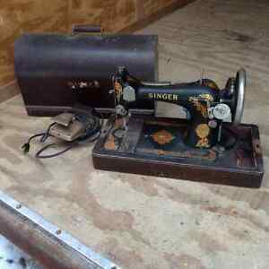 Singer sewing machine and sewing basket with supplies