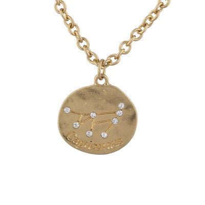 Lux Accessories Gold Tone Capricorn Zodiac Constellation Horoscope Necklace
