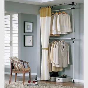 Closet Organizer Rack Storage Wardrobe with Curtain 251285