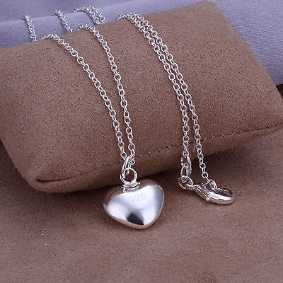 Sterling Silver Plated Puffy Heart Pendant Necklace Fashion Jewelry 18