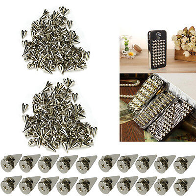 200x10 mm Silver Spots Cone Screw Metal Studs Leather craft Rivet Bullet Spikes