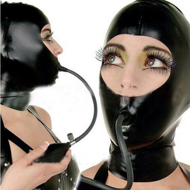 Open Face Latex Hoods with Inflatable Mouth Plug Forced Open