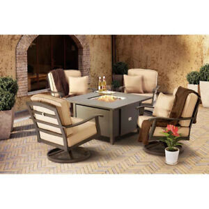 Ventura Fire Table Set & Lee Monterra Swivel Patio Chair