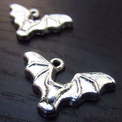 Bat Charms 23mm Wholesale Halloween Silver Plated Charms C2024 - 10, 20 Or 50PCs - Halloween Charms Wholesale