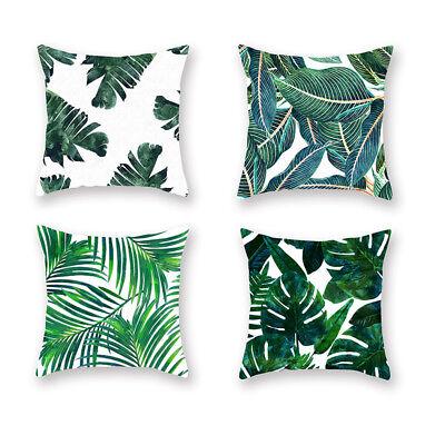 Hot Tropical Plants Green Leaves Pillow Case Cushion Covers Car Home Sofa Decor