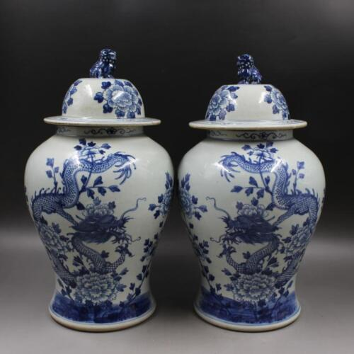 CHINESE OLD BLUE WHITE DRAGON AND PEONY LION HEAD PATTERN PORCELAIN TEMPLE JARS