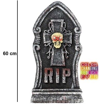 GRABSTEIN MIT TOTENKOPF und farbwechselnden LED AUGEN 60 cm Halloween Deko #776k ()