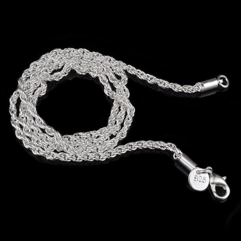 """Jewellery - 925 Silver Plated 3 mm Rope Chain Men's Women's Necklace 16"""" 18"""" 20"""" 22"""" 24"""""""