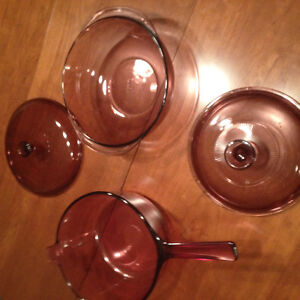 Vintage Pyrex Cookware in Cranberry