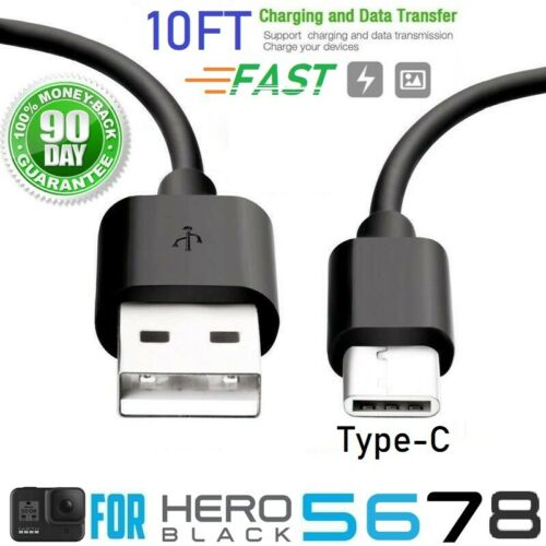 10ft For GoPro Hero Black 5 6 7 8 Session Camera, Data Sync & Charger USB Cable