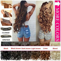 Synthetic Half Wig Clip In Hair Piece Wig Fall Long Wavy Curly Ombre 50-55cm - unbranded - ebay.co.uk