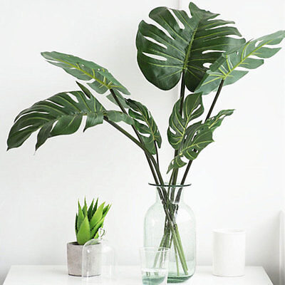 12Pcs Artificial Tropical Palm Leaf Fake Green Plant for Home Living Room Decor](Fake Palm Leaves)
