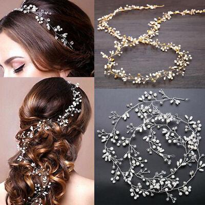 Wedding Hair Vine Crystal Pearl Headband Bridal Accessories Long Chain - Hair Vine
