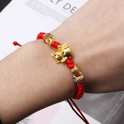 Lucky Kabbalah Red String Braided Golden Fortune Cat Bracelets Fashion Jewelry, used for sale  Shipping to Canada