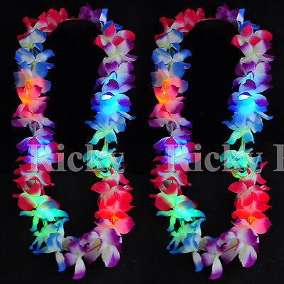 2 Leis Hawaiian LED Luau Light Up Necklaces Flashing Rave Flower Vacation Glow