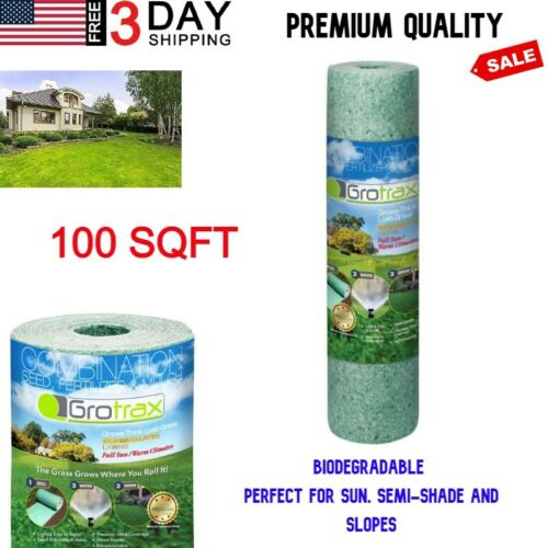 Roll Year-Round Green Grass Seed Mixture Mat Roll For Lawn 100 SQFT Quick PROVEN