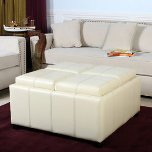Details About 4 Tray Top Ivory Leather Storage Ottoman Coffee Table
