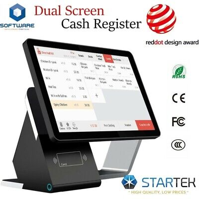 Double Touch Screens Pos Cash Register 0 Monthly Fee Software For Restaurant