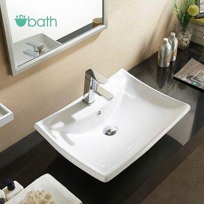 White Porcelain Ceramic Basin Vessel Vanity Sink Bowl Bathroom Pop Up Drain