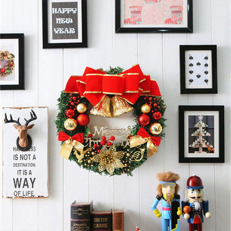 New Christmas Wreath Home Merry Garland Window Door Decor Bowknot Xmas Ornaments