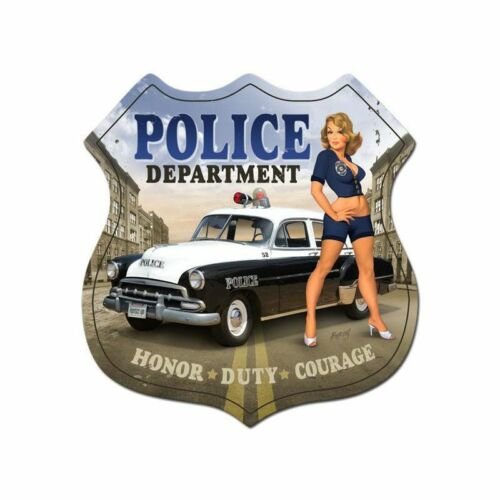 POLICE DEPARTMENT RISQUE COP BABE SHIELD SHAPED HEAVY DUTY USA MADE METAL SIGN
