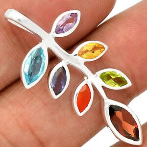 Silver Chakra Leaf Pendant - Gemstones & 925 Solid Silver
