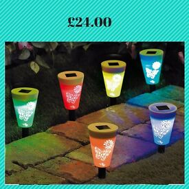 Set Of 6 Butterfly Solar Stake Lights