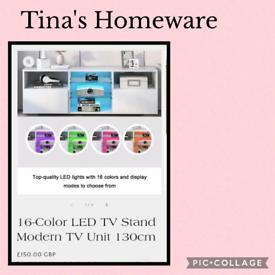 💥16-Color LED TV Stand Modern TV Unit 130cm 💥£150