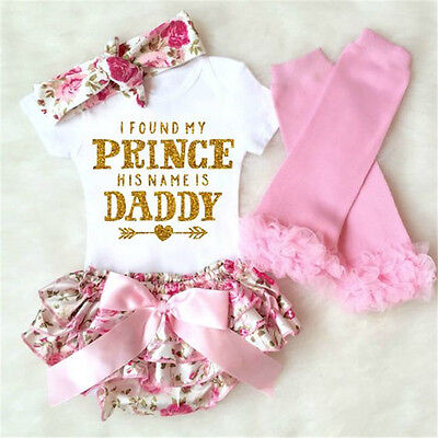 Floral Outfit Girl - 4PCS Newborn Baby Girl Romper+ Floral Shorts Dress+Leg Warmer+Headband Outfit US