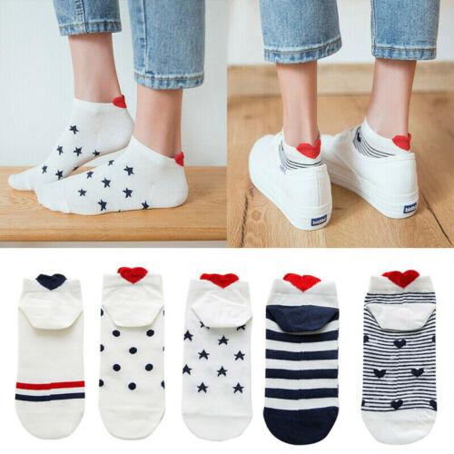 Women Girls 3D Cartoon Red Heart Socks Cute Ankle Short Cotton Sox Summer CA vi