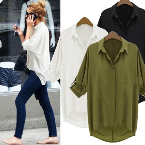 Womens Casual Long Sleeve Down Collar Oversize Loose Chiffon T Shirt Top Blouse