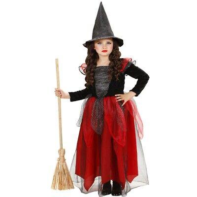 Hexe Kinder Mädchen Kostüm - elegantes Kleid schwarz rot mit Hut - Witch - Elegante Hexe Kind Kostüm