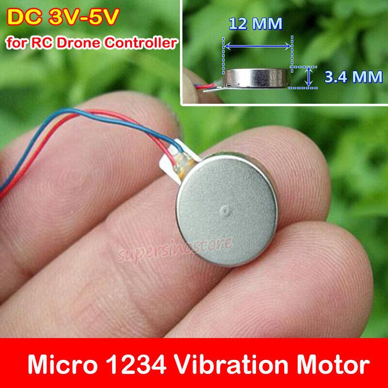 DC 3V-5V Mini Pancake Flat Vibrating Motor Micro Button Type Vibrator 12mm*3.4mm