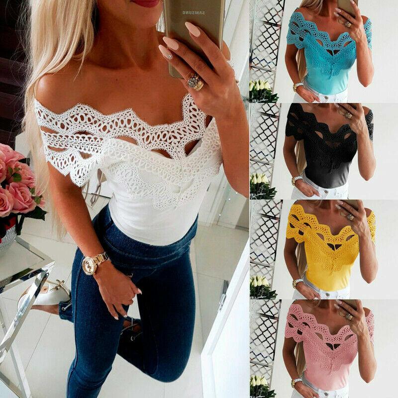 Sexy Damen Hohle Kurzarmshirt T Shirt Bluse Clubwear Oberteile Slim Fit Top DE