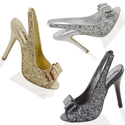 Womens Peep Toe Sandals Stiletto Heel Ladies Slingback Glitter Bridal Party Shoe Stiletto Peep Toe