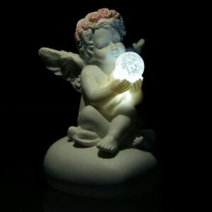 LED Light Crystal Rose Cherub - Figurine Decorative Angel Ornament Small 8.5cm