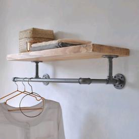 Industrial style clothing rail wardrobe shelf