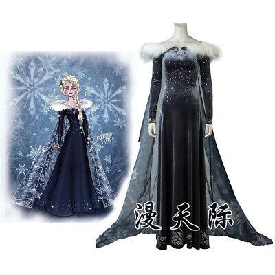 Olaf's Frozen Adventure Elsa gefrorene Königin Cosplay Kostüm Costume - Frozen Kostüm S