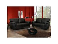 HIGH QUALITY KATIA 3+2 SOFA SUITE (PU LEATHER) AVAILABLE IN BLACK OR BROWN