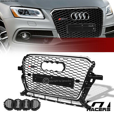 For 2013-2017 Audi Q5 Blk Chrome Rs Honeycomb Mesh Front Bumper Grill Grille Abs
