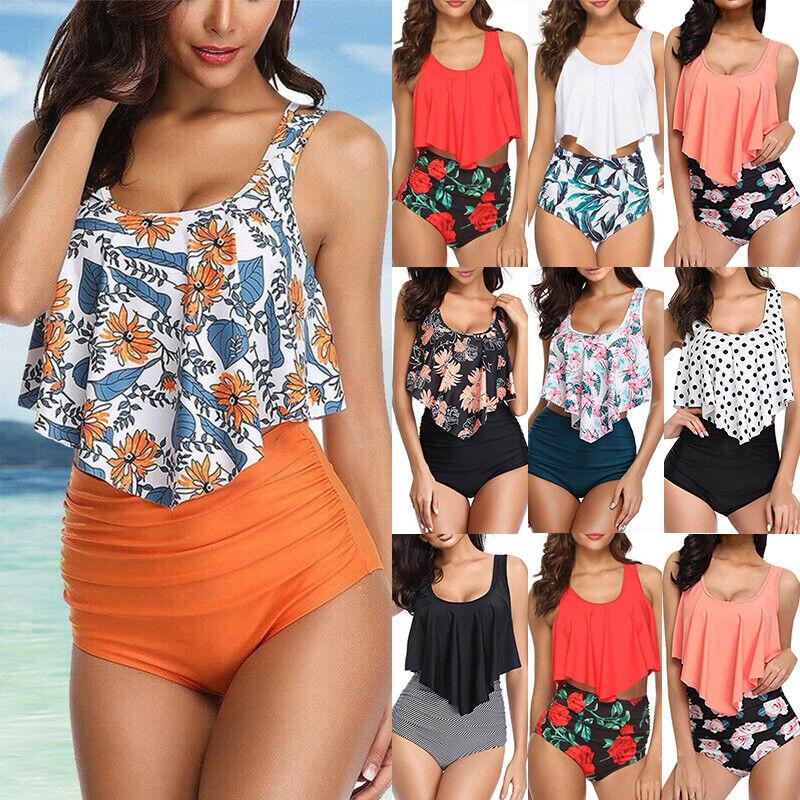 Women High Waist Ruffled Bikini Tankini Set Summer Beach Swimwear Bathing Suit Clothing, Shoes & Accessories