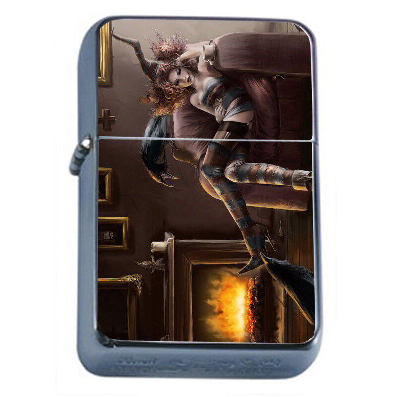 Hot Anime Witches D9 Flip Top Dual Torch Lighter Wind Resist