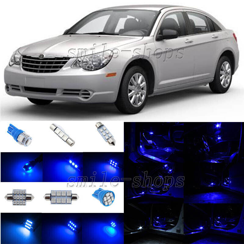 TOOL 12 x Ultra Blue Interior LED Lights Package For 2007-2010 Chrysler Sebring