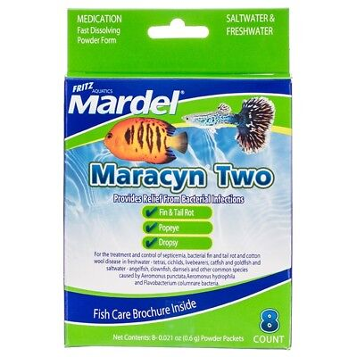 Fritz Mardel Maracyn Two 2 Fast Dissolve 8 Pack FRESH or SALT water treatment
