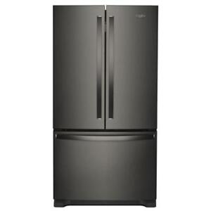 "French Door Refrigerator Black Stainless Steel | Whirlpool WRF532SMHV 33"" Inch French 3-Door Refrigerator (BD-909)"