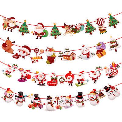 Christmas Party Hanging Decor Snowman Santa Claus Elk Sock Banner Xmas Supply