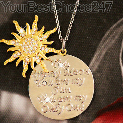 Silver & Gold Love Quote Necklaces Moon Sun Xmas Gifts For Her Best Friend Women ()