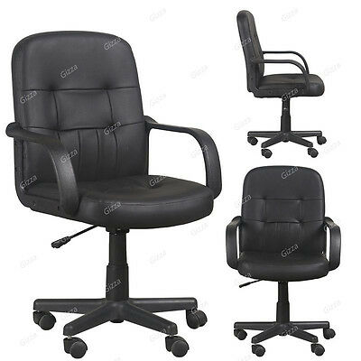 Swivel Executive Office Chair Luxury PU Leather Mid Back PC Computer Furniture