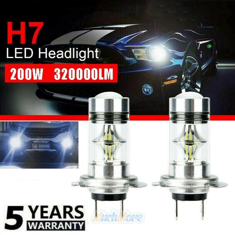 2X H7 LED Headlight High Low Beam Bulb Kit 6000K White 200W 320000LM Fog Light
